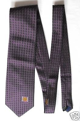 Corporate silk check tie BIAT logo lion Perfect condition